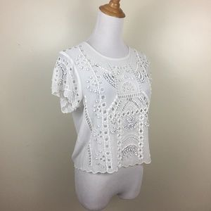 LOVERS + FRIENDS Embroidery Rhinestone Scallop Top